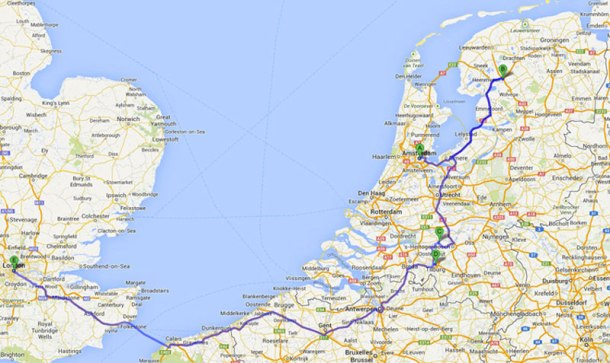 map of my migration across the Netherlands and to London