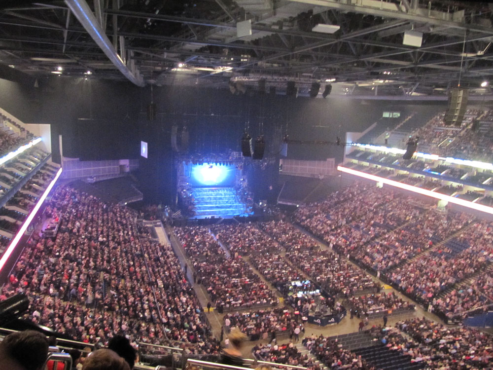 interior shot of the O2 arena taking from our seats at the top with the stage in the far distance