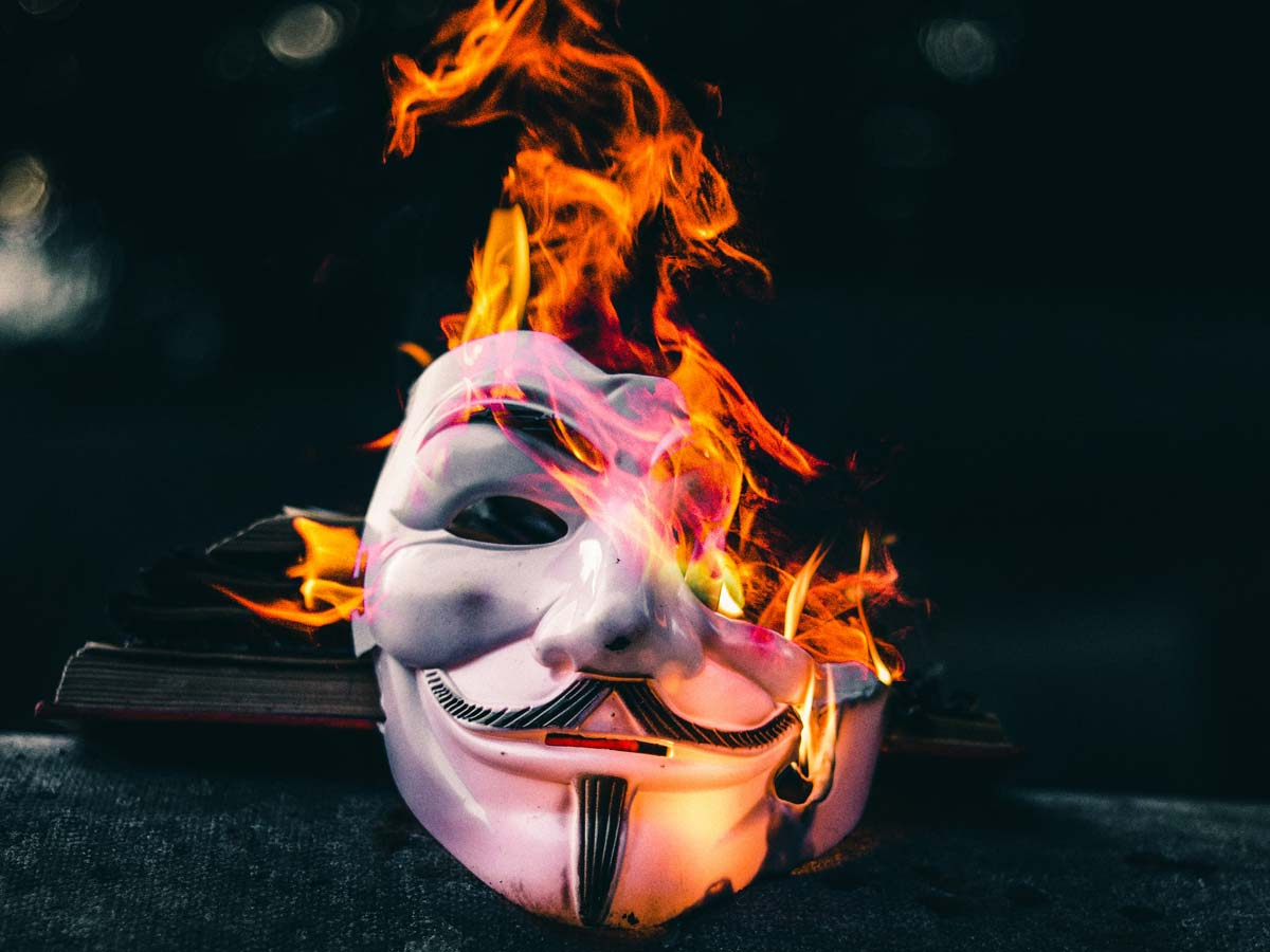 Guy Fawkes mask on fire