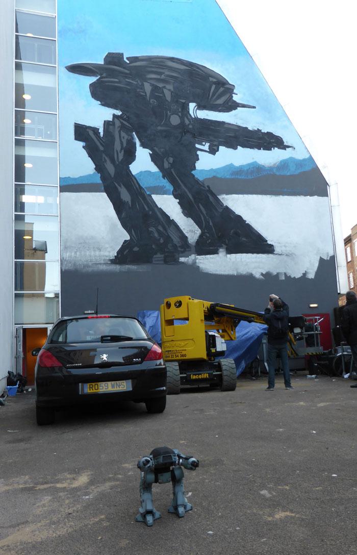 ED209 model and mural