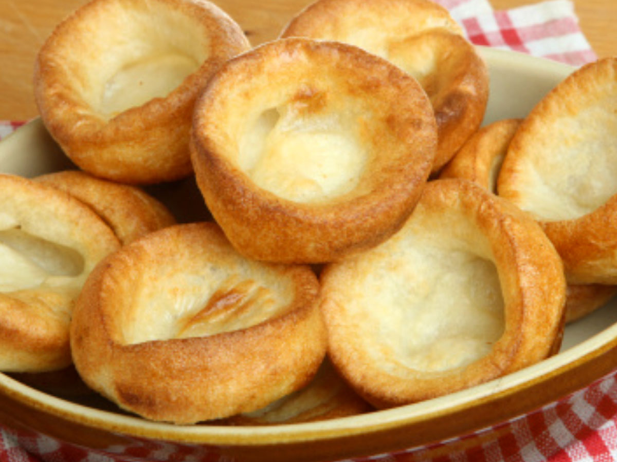 plate full of Yorkshire puddings in celebration of National Yorkshire Pudding Day