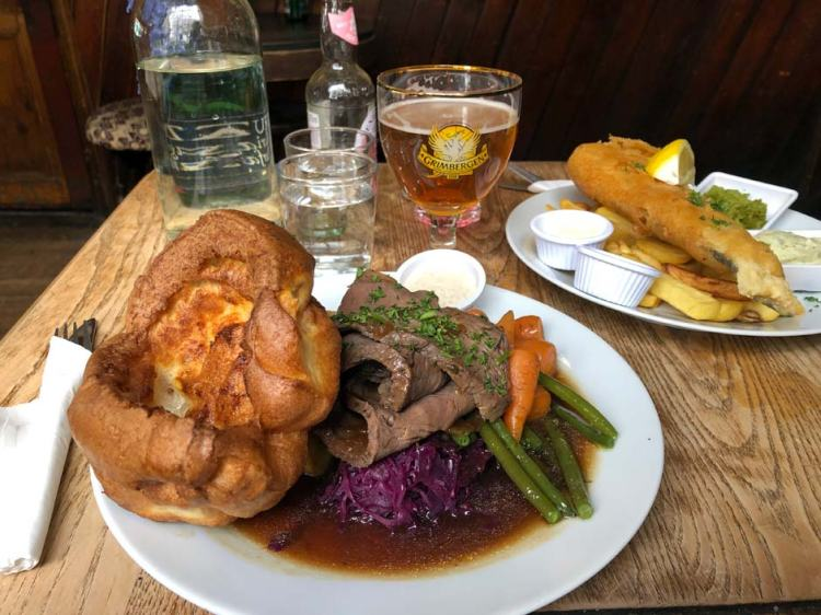Sunday roast with beef at The Dove pub in Broadway Market, London