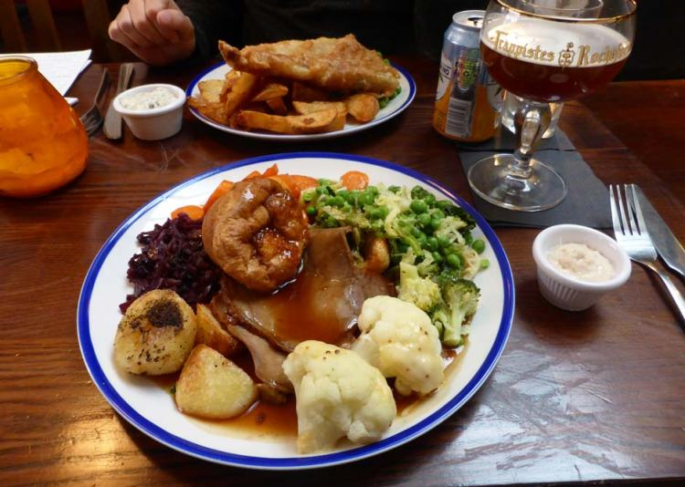 Beef Sunday roast at The Old House pub in Sheffield