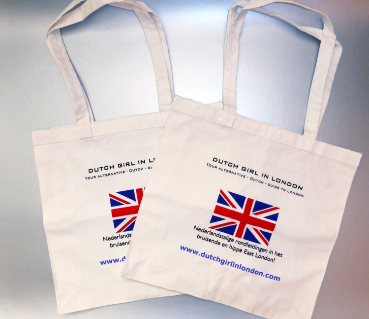 Dutch Girl in London tote bags