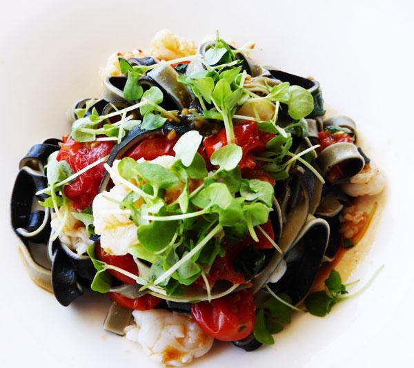 black and white pasta