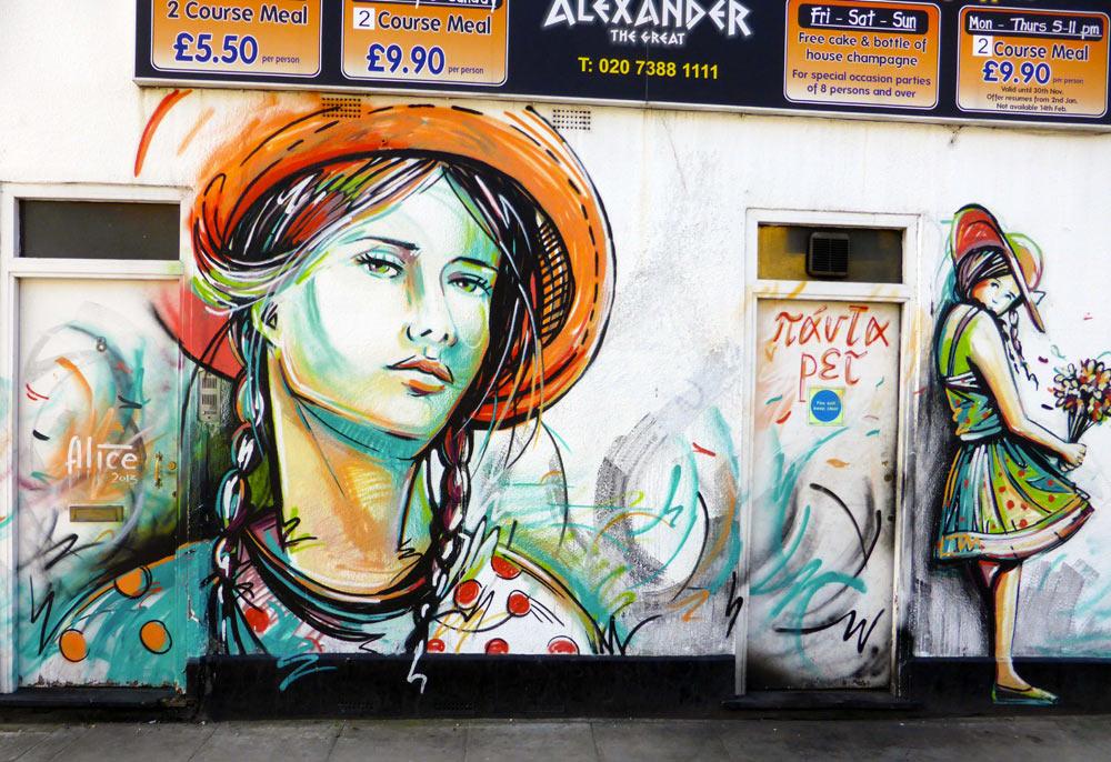 street art by Alice Pasquini on Greek restaurant in Camden