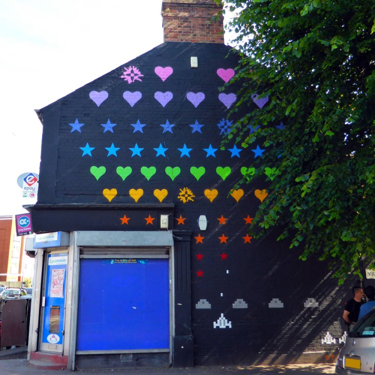 street art based on the retro Space Invader game by art collective Static in Walthamstow