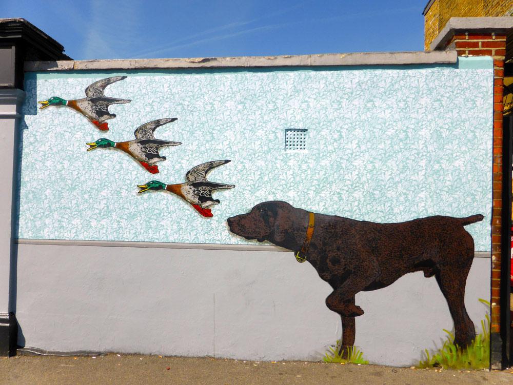 Teddy Baden dog chasing ducks in Walthamstow
