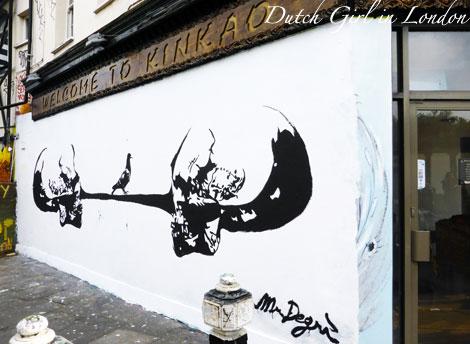 Mr Degri mural on restaurant Kinkao on Pedley Street in Shoreditch