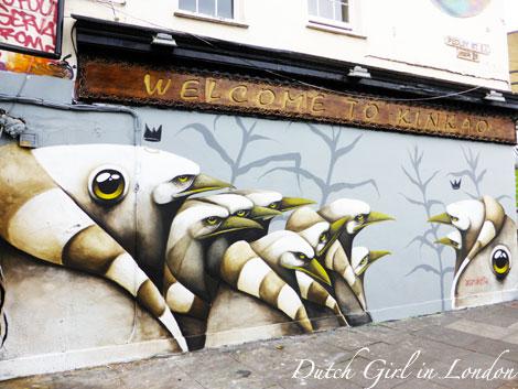 Ana Marietta mural on restaurant Kinkao on Pedley Street in Shoreditch