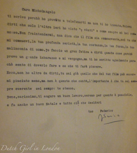 Letter from Frederico Fellini to Michelangelo Antonioni at EYE film museum Italian cinema exhibition