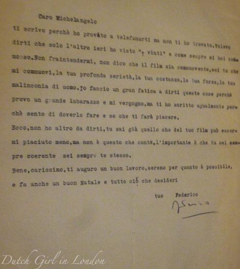 Letter from Frederico Fellini to Michelangelo Antonioni at EYE film museum Italian cinema exhibition