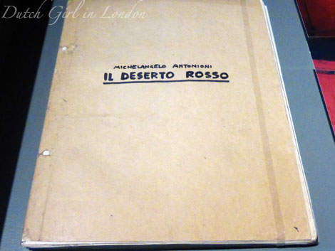 Original screenplay of Il deserto rosso Red Desert by Michelangelo Antonioni at EYE film exhibition