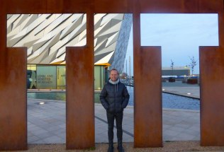 Hubby posing by the Titanic sign