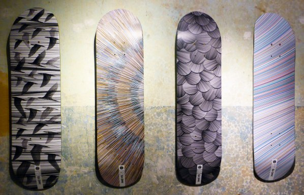 Skateboards with Kai and Sunny designs