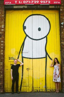 Our photo taken by the Stik mural