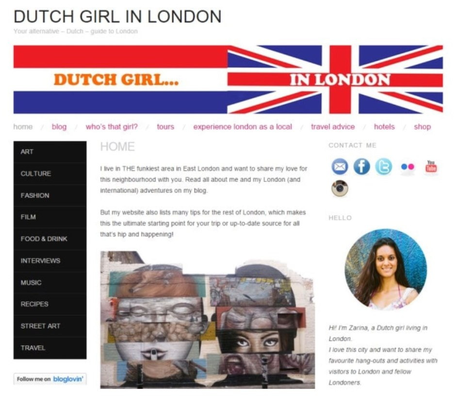 Dutch Girl in London first website