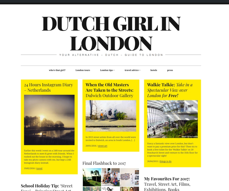 Dutch Girl in London website 2017