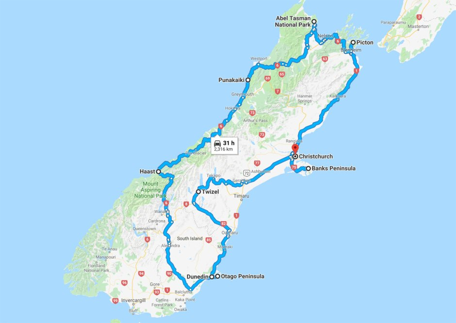 New-Zealand-South-Island-route