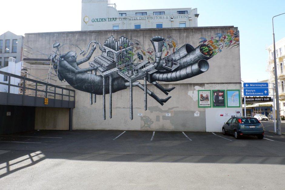 Phlegm street art trail Dunedin