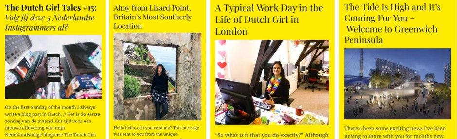 Screenshots of blog posts written in June