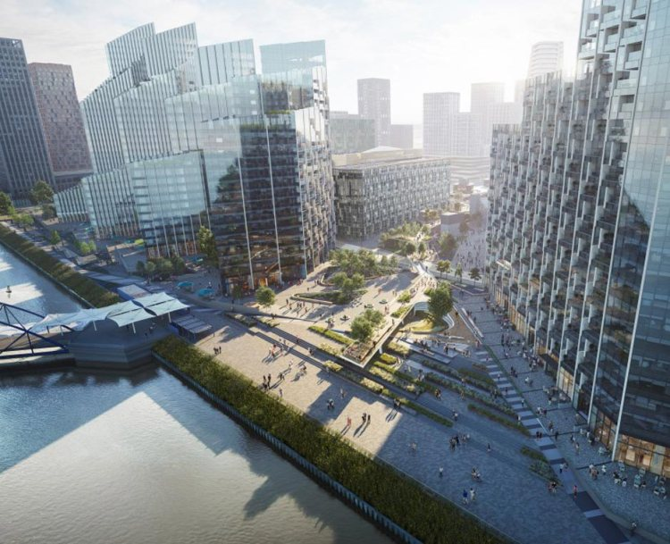 Computer image of the future Greenwich Peninsula London