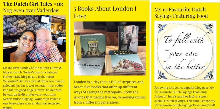 Screenshots of blog posts written on Dutch Girl in London in July