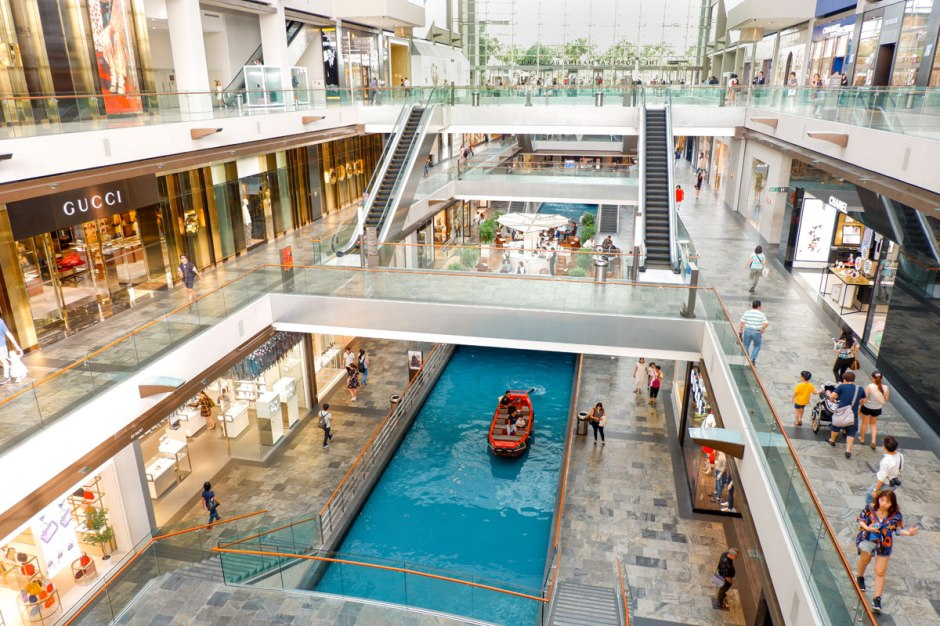 Inside the luxurious shopping mall The Shoppes at Marina Bay Sands in Singapore