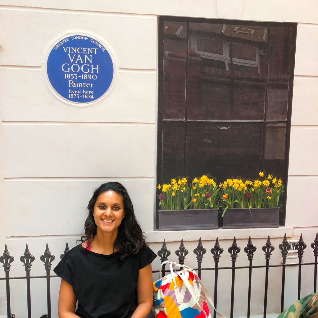 Dutch Girl in London sitting by Van Gogh blue plaque
