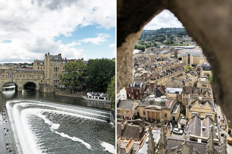 Pulteney Bridge in Bath and view from the top of Bath Abbey