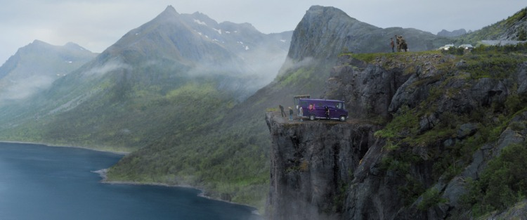 The band has landed on a cliff with their van