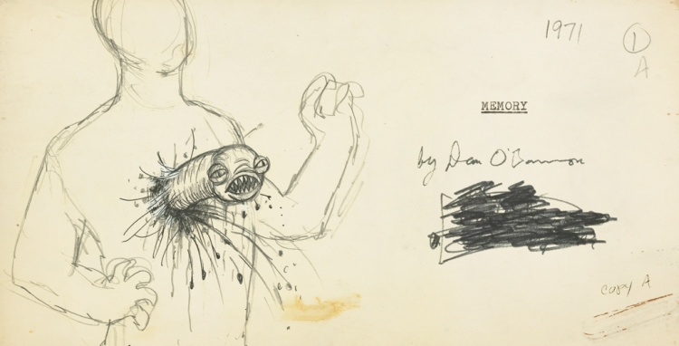 Sketch for the Chestburster from the documentary Memory The Origins of Alien