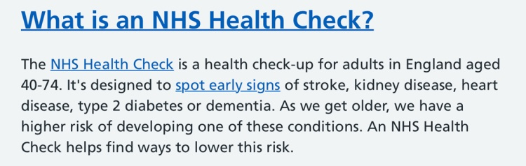 The NHS free health check is offered to adults in England aged 40 to 74.