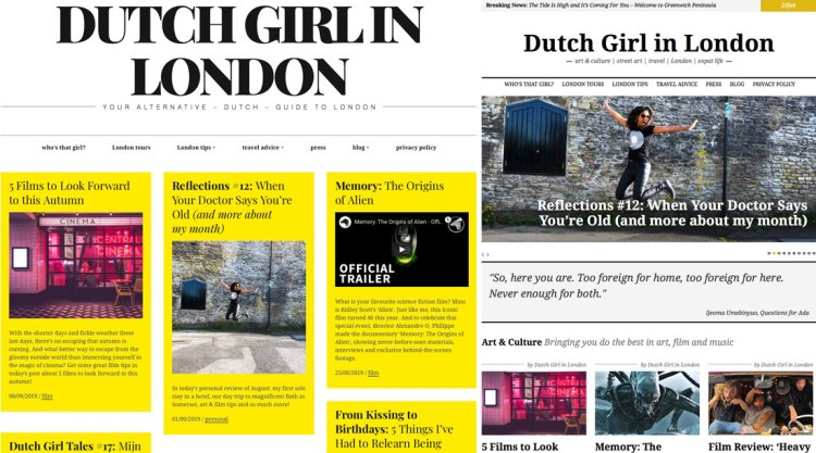 Dutch Girl in London website old and new design