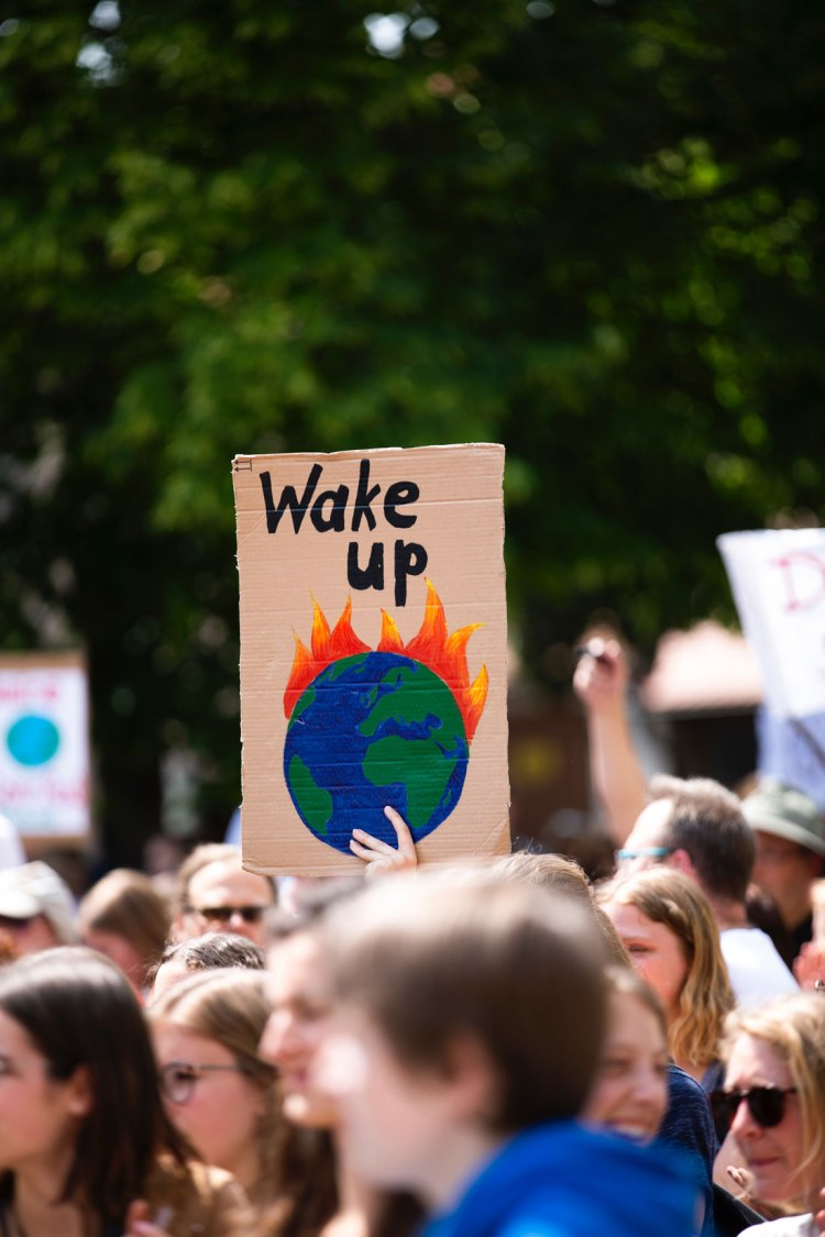 global climate strike sign saying 'Wake up'
