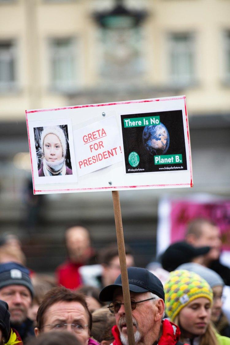 Greta Thunberg for president sign