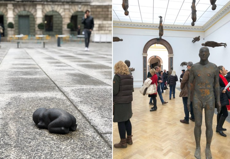 Antony Gormley sculptures in his exhibition at Royal Academy London 2019