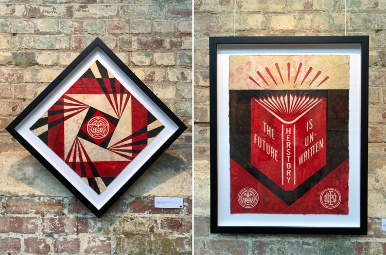 two cut-out collages by Shepard Fairey in StolenSpace Gallery