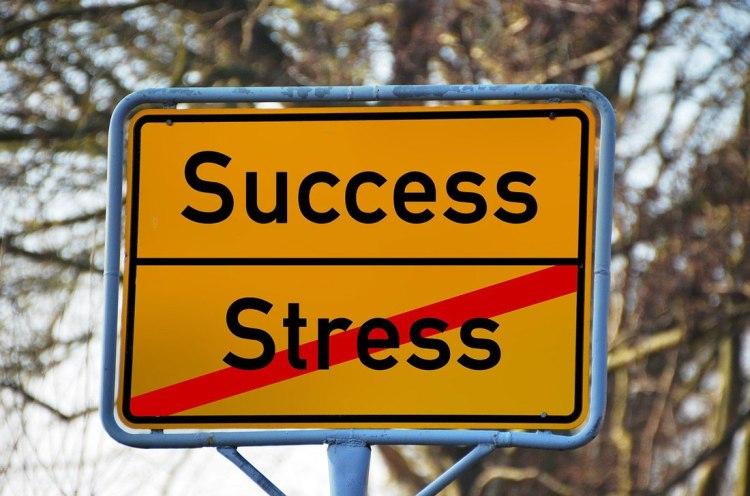 Verkeersbord met daarop de woorden succes en stress, stress is doorgestreept