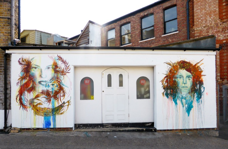 Carne Griffiths floral street art in Walthamstow