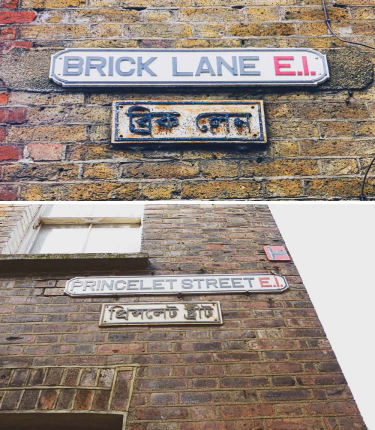 what is the language of the street name signs in Shoreditch
