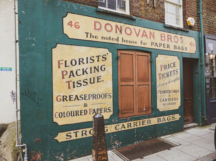 Donovan Bros is an example of old shop signs in Shoreditch