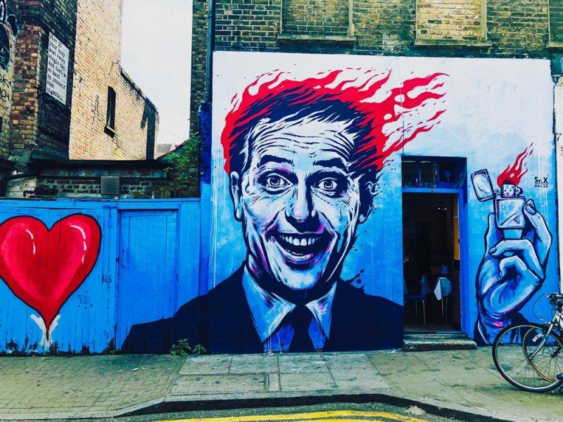 Mural by Sr.X on Hanbury Street just off Brick Lane