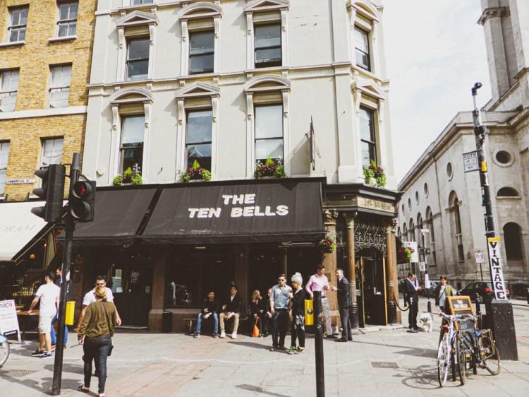 The Ten Bells pub opposite Spitalfields Market is associated with Jack the Ripper