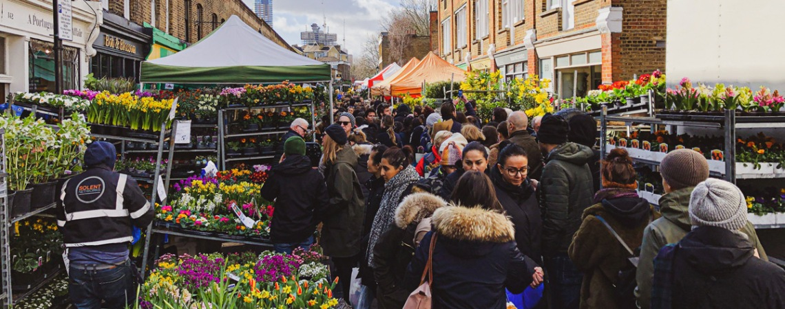 Columbia Road Flower Market is one of the most popular Sunday markets in London