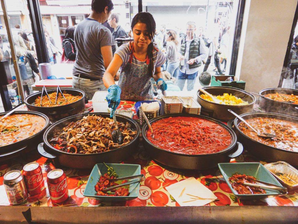Incredible street food at the Brick Lane Sunday Upmarket