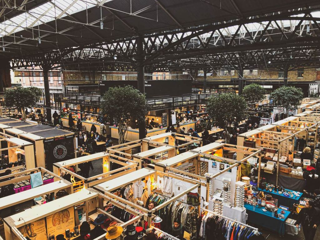 The beautiful covered Old Spitalfields Market in Shoreditch, London is home to dozens of independent market vendors