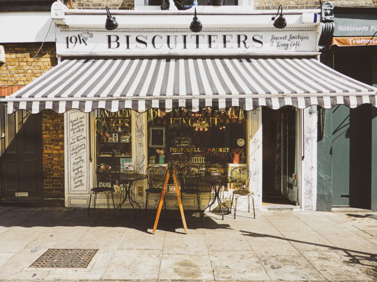 Portobello Road is famous for its market, but also its shops and cafés