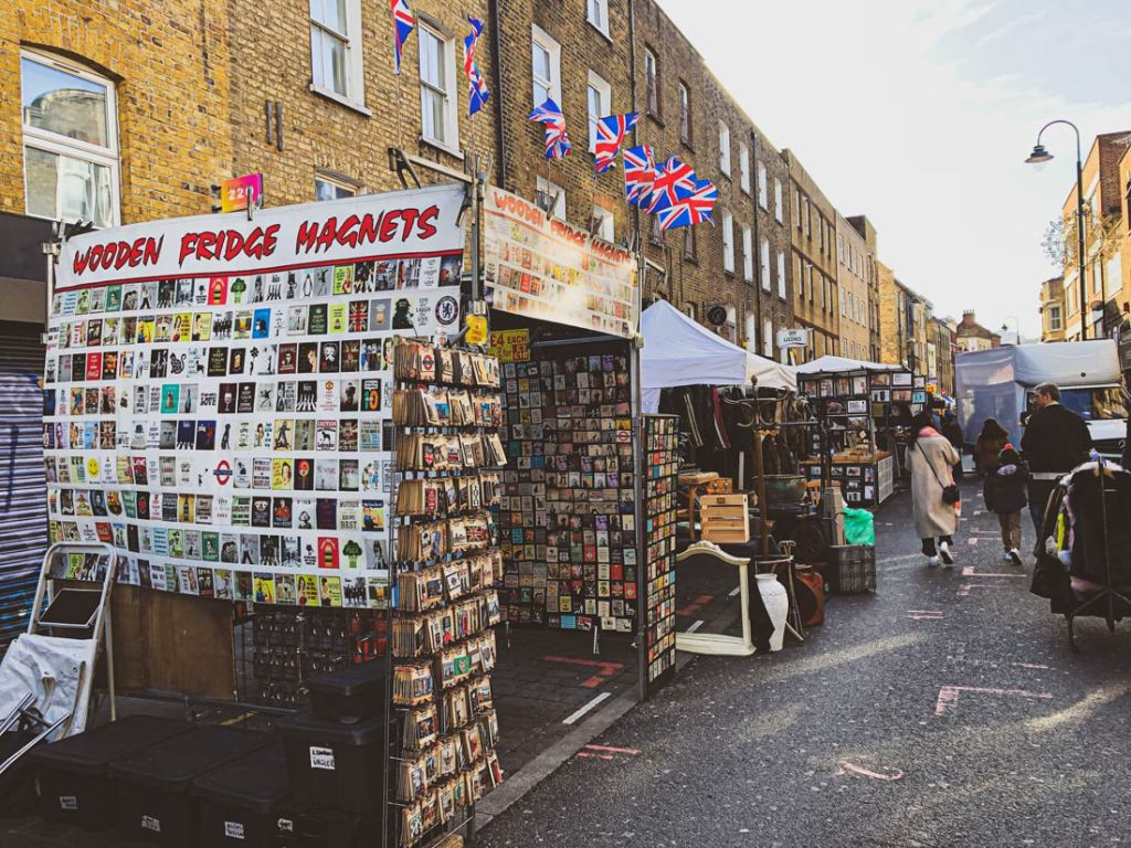 Traditional street market stalls at Brick Lane Sunday Market