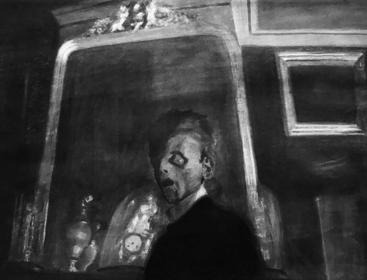 Eerie black and white self-portrait of Léon Spilliaert at the Royal Academy, London, 2020